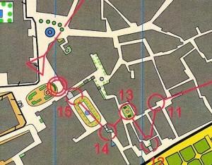 Mapa de orientación del centro histórico de Sevilla.